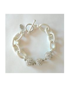 Silver Charm Bracelet with 3 rhinestone pave silver ball charms