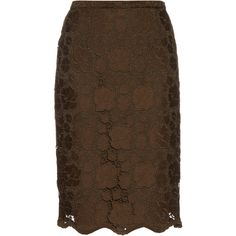 No. 21 Floral macramé-lace midi skirt (1,000 SAR) ❤ liked on Polyvore featuring skirts and khaki