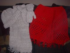 hat , mitts , scarf and poncho