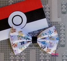 Pokemon Eevee Evolutions  Hair bow/ Bow tie Handmade unique Fabric  Geeky Kawaii gamer  Bow