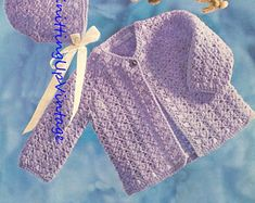 baby knitting pattern vintage matinee coat bonnet booties mittens in double knit sizes 14 16 18 20 inch chest Baby Knitting Patterns, Knitting Yarn, Crochet Patterns, Double Knitting, Needles Sizes, Vintage Patterns, Mittens, Crochet Baby, Baby Items