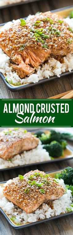 This recipe for almond crusted salmon with honey garlic sauce is a healthy and quick 7 ingredient meal that's full of flavor.