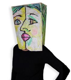 Show the world how hip you are with a cubism costume for #Halloween. Oil pastel on brown grocery bag. #artprojectsforkids