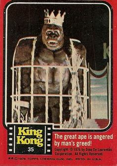 1976 Topps King Kong The great ape is angered by man's greed! Super 8 Monster, Sci Fi Movies, Movie Tv, King Kong 1, Horror Icons, Sharon Tate, Classic Monsters, Ad Art, Creature Feature