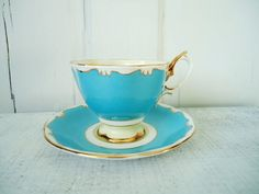 Vintage Turquoise Tea Cup and Saucer So Cottage Chic