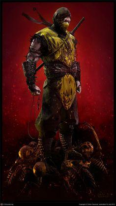 Ninja Scorpion is standing at the top of his enemies' sculls. A master assassin who kills for trophy Comic Character, Game Character, Escorpion Mortal Kombat, Mortal Kombat X Wallpapers, Claude Van Damme, Ninja Art, Shadow Warrior, Warrior 3, Video Game Art