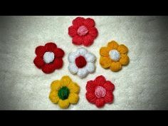 How to Crochet A Woollen Flower - YouTube