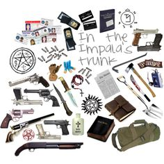 In the Impala's trunk by josinclair on Polyvore featuring arte, sam winchster, impala, guns, demons, knives, hunting, dean winchester, ammo and supernatural