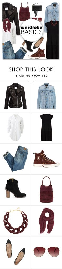 """""""Wardrobe Basics"""" by deeyanago ❤ liked on Polyvore featuring Current/Elliott, rag & bone, MuuBaa, American Eagle Outfitters, Converse, Burberry, DIANA BROUSSARD, Saachi, Valentino and MINKPINK"""
