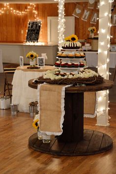 Cable spool made cake table.