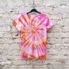 Tie Dye Tshirt Spiral Pink Yellow Orange Tiedye to by AbiDashery