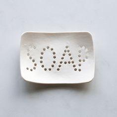 HOLEY SOAP dish. White porcelain typo holes geometric bathroom accessory  £18.00