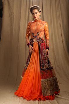 Orange jacket style lehega choli by Meena Mehra
