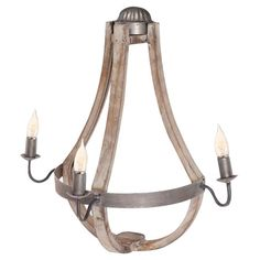 Bring Old World appeal to your dining room or master suite with this teardrop-shaped wall sconce, crafted from wood and metal and featuring space for 3 light...