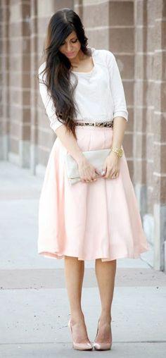 Gorgeous Pink Midi Skirt Top White