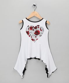 White & Red Heart Sidetail Tunic - Infant, Toddler & Girls | Daily deals for moms, babies and kids