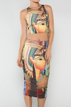 Egyptian Cropped Top #wholesale #prints #fashion #clothing #ootd #wiwt #shopitrightnow #graphics #patterns #crop #cropped #croptop #bodycon #skirt