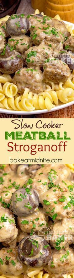 This meatball stroganoff is a quick slow cooker meal. Cooks in 3 hours. Make the… This meatball stroganoff is a quick slow cooker meal. Cooks in 3 hours. Make the meatballs ahead or use store-bought frozen in a pinch. Crock Pot Food, Crockpot Dishes, Crock Pot Slow Cooker, Beef Dishes, Slow Cooker Recipes, Beef Recipes, Cooking Recipes, Healthy Recipes, Slow Cooking