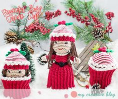 This amazing topsy-turvy doll pattern was inspired by an idea from one of my testers, Angela Nacnac Francis. It's a beautiful design and so perfect for Christmas and those winter months. She's certain to make for an adorable, handmade, thoughtful gift for any little girl. She is pretty quick to whip up and has lovely details such as a beautiful Christmas dress with white ruffle and an adorable peppermint swirl hat, topped with some lovely holly berries. She just screams Winter and Christmas…