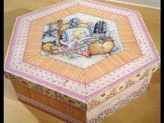 ▶ Como hacer contracolado artistico en una caja hexagonal - YouTube