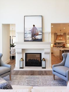 Today's Parade Home is House - Notre Maison by We created all f. - Today's Parade Home is House – Notre Maison by We created all four of the fire - Double Sided Fireplace, Small Fireplace, Living Room With Fireplace, Fireplace Design, Living Room Decor, Living Spaces, Fireplace Outdoor, Rustic Fireplaces, Fireplace Mantels