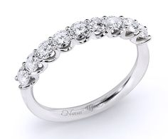 Semieternity diamond ring in white gold, with 9 brilliant-cut diamonds tw) in prong setting. Sapphire Rings, Diamond Jewelry, 18k Gold, Emerald, Engagement Rings, Detail, Design, Diamond Jewellery, Enagement Rings