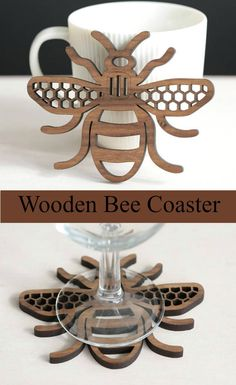 Bee Wood Coaster in walnut or oak.