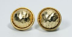 In #CherryOrchardAttic on #Etsy Vintage Les Bernard Hammered Gold Tone Round Button Clip On Earrings #GoldButtonEarrings #LesBernardEarrings #HighFashionEarrings #RoundEarrings #GoldEarrings #RetroEarrings #ClipOnEarrings #DesignerEarrings #Gold #HammeredGold #ButtonEarrings #80sEarrings #EtruscanGoldEarrings #LesBernard #FashionJewelry