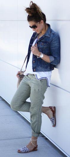 J.Crew Jean Jacket - Tee + Pants via BlueLinen Boutique
