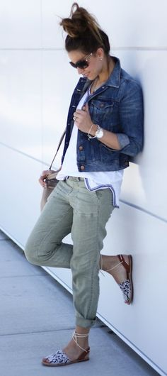 J.Crew Jean Jacket - Tee + Pants via BlueLinen Boutique