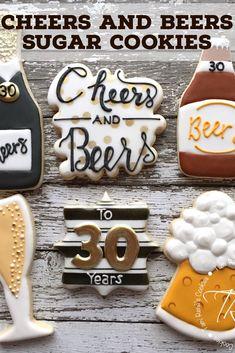 ideas birthday decorations for him sugar cookies Beer Cookies, Man Cookies, Sugar Cookies, 30th Birthday For Him, 30th Birthday Ideas For Men Surprise, 21 Birthday, Happy Birthday, Birthday Cake, Beer Wedding