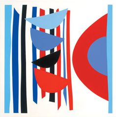 Blue Red Black Vertical Rhythm Silkscreen Print by Sir Terry Frost