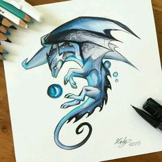 Dragon drawing blue