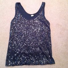 J Crew sequenced tank top. Looks great w/blazer. Navy in color. Excellent condition. Just don't wear anymore. J. Crew Tops Tank Tops