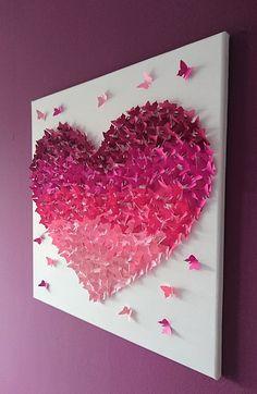 """Wanddeko - 3D-Schmetterlingsherz Bild """"Ombre Pink"""" - ein Designerstück von Cherryviolett bei DaWanda"""