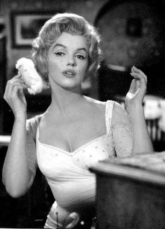 Marilyn Monroe on the set of The Prince and the Showgirl, 1956.