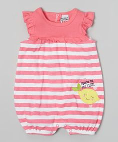 This Peanut Buttons Pink Stripe 'Squeeze Me I'm Cute!' Romper - Infant by Peanut Buttons is perfect! #zulilyfinds
