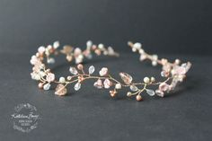 R950 Zoe Rose gold wedding bridal hair accessory accessories - wedding headband - hair wreath - bride rose blush pink gold flower crown