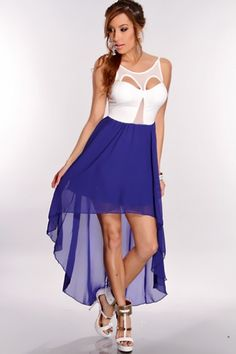White Royal Blue High Low Hem Dress @ Amiclubwear sexy dresses,sexy dress ,prom