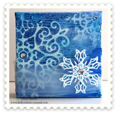 Winter Wonderland Canvas, Christmas Canvas, Holiday Canvas, Snowflakes, using gesso, #Tattered Angels paint products and @Spellbinders dies.
