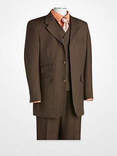T-Fusion Olive Stripe Vested Suit