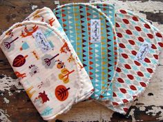 Burp Cloths - Festive Forest, Forest Bunting & Forest Leaves - Set of 3 - Baby Boy or Girl by theposhpeaboutique on Etsy https://www.etsy.com/listing/170887606/burp-cloths-festive-forest-forest