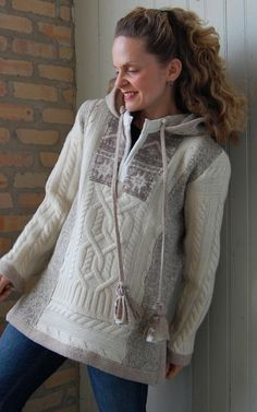 Upcycled clothing Snowlight Hoodie Pullover by FoundryDesign