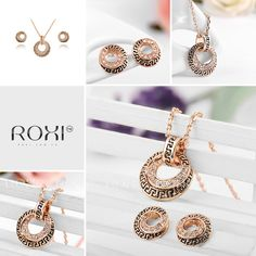ROXI 18K Rose Gold / White Gold Plated Retro Round Jewelry Set Stud Earrings with Pendant Necklace Set for Women