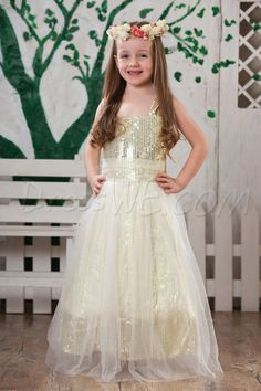 Glamorous A-Line Scoop Tea-length Sequins Flower Girl Dress 10520007 - 2013 Flower Girl Dresses - Dresswe.Com