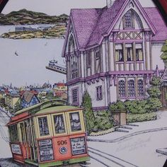 San Francisco Streetcar # 506 Debbie Patrick Art Local artist Debbie Patrick paints San Francisco Victorian Houses and Landmarks This is a signed and dated lithograph of Hyde Cable Car Every lithographic is hand water colored to match the mat color then signed and dated by the