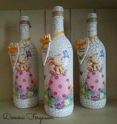 Decoupaged Crackle Paint Wine Bottles