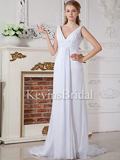 Simple Natural Waist Chiffon A-Line Ruched With Trains Floor Length Bridal Gown - US$ 108.99 - Style KB0122 - Kevins Bridal