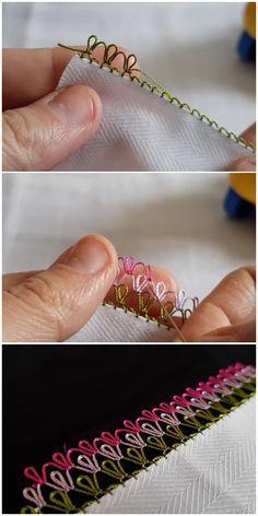 Very Fine Needle Lace for Narrow Towel Edge - Stickerei Ideen Hand Embroidery Stitches, Silk Ribbon Embroidery, Hand Embroidery Designs, Crochet Stitches, Embroidery Patterns, Needle Tatting, Needle Lace, Crochet Unique, Passementerie