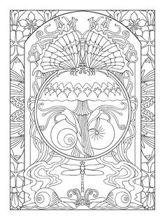 free coloring page «coloring-adult-art-nouveau-style-peacock ... - Art Nouveau Unicorn Coloring Pages